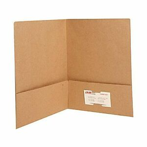 "JAM Paper Brown Matte Two Pocket Folder 9"" x 12""/100 in the box"