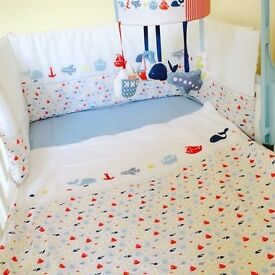 4 PIECE MOTHERCARE ADVENTURE AHEAD NAUTICAL THEMED COT BEDDING SET IN ORIGINAL BAG