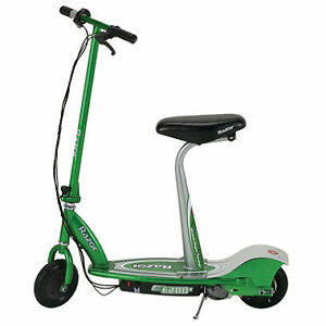 Green electric scooter with seat