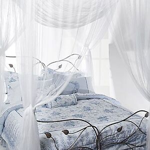Queen Size White Netting Bed Canopy
