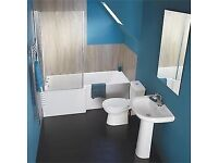 Full Bathroom Square Effect Showerbath Suite. Modern Taps, Toilet, Basin and Wastes