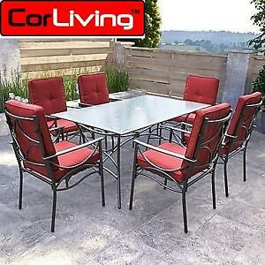 NEW* CORLIVING 7PC PATIO DINING SET PZT-854-S 170066448 CHARCOAL BLACK AND RED