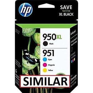 NEW HP 950XL/951 4PC COMBO INK CARTRIDGES PRINTER - HP 950XL High Yield Black  951 Cyan, Magenta and Yellow Original Ink
