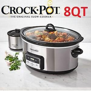 NEW CROCK POT 8QT SLOW COOKER SCCPVCC803S-033 219502910 W/ LITTLE DIPPER STAINLESS STEEL