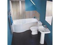 Full Bathroom Curved Showerbath Suite. Toilet, Sink & Taps.