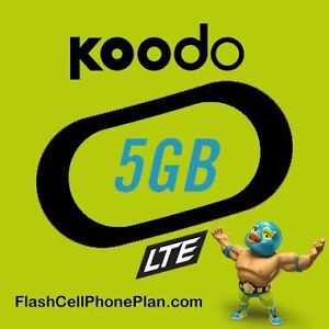 Koodo $48/60/35/month. UNLIMITED talk & text, 5GB LTE + more!
