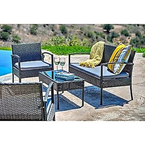 Carabelle 4-Piece Wicker Teaset Patio Seating Set