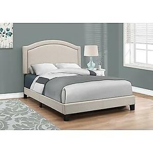 Monarch Specialties Full,Double Size Bed, Beige Linen With Antique Brass Trim (I 5937F)