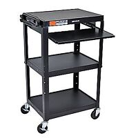NEW Luxor Adjustable Height Steel Cart with Pullout Keyboard