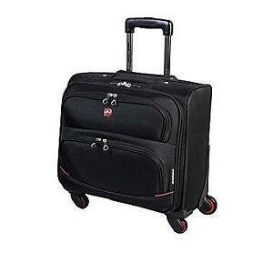 "Swiss Gear 4 wheels Sytem Mobile Office Travel Bag with Push Button Retractable Handle. 17"" x 17""x8.5"". Luggage Bag. NEW"