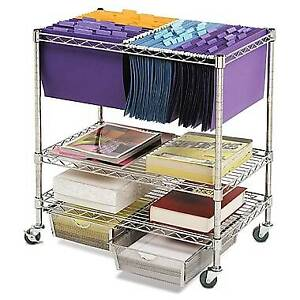 Chrome File Cart With Drawers