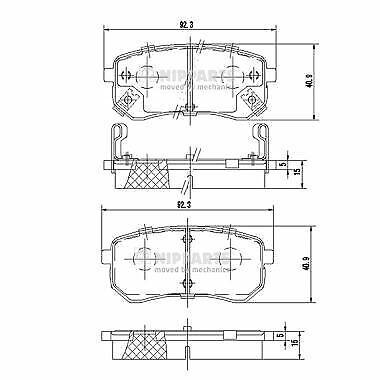 NIPPARTS (J3610307) Bremsbeläge, Bremsklötze für HYUNDAI KIA