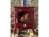 EX DISPLAY !!! RED ENAMEL STOVE multi fuel wood burner 8kw stoves