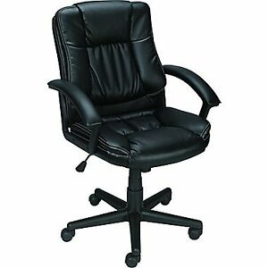 Mid-Back Bonded Leather Manager's Office Chair (black)