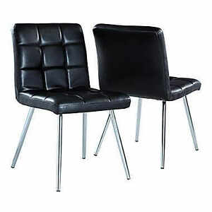 New: 2-Monarch Leather-Look/Chrome Metal Dining Chairs Black