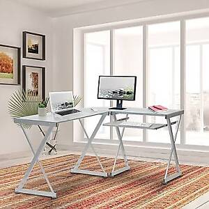 L-Shaped Tempered Glass Top Computer Desk with Keyboard Panel