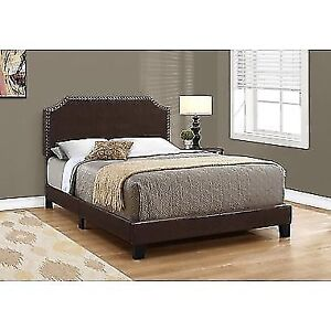 Monarch Specialties Full-Double Bed, Brown Faux Leather with Bra