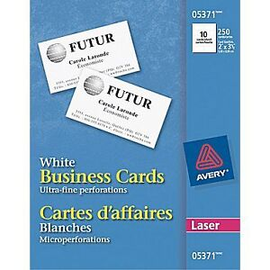 """Avery® Perforated Laser Business Cards, 3-1/2"""" x 2"""", White, 250/"""