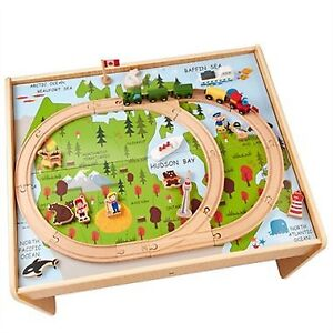 BNIB Hape Train Table with Canada Theme