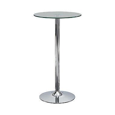 Contemporary Glass Top Round Bar Table Chrome