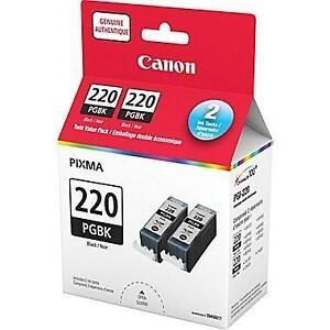 NEW CANON 220 DUAL INK CARTDIDGES Canon® PGI-220 Black Ink Tanks, Twin Pack (2945B006) 105949194