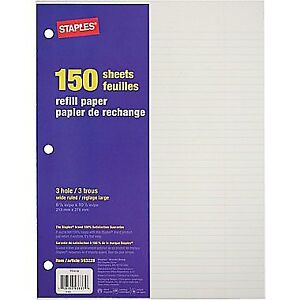 Staples® Refill Paper, 150 Sheets