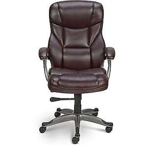 Staples® Osgood™ Bonded Leather Manager's High Back Chair, Brown
