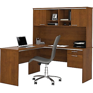 Bestar L-Shape Computer Desk with Hutch