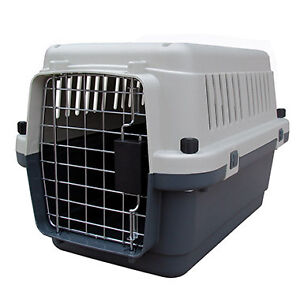Large plastic dog crate and kennel bed