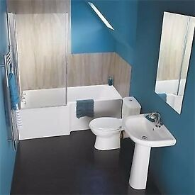 Bathroom Square Showerbath Complete Suite. Toilet, Sink & Modern Taps.