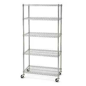 Large 5-Tier Chrome Shelf w/Wheels W36 x D18 x H72 for Sale $125