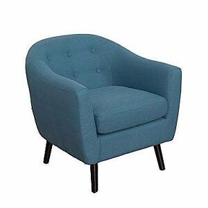 CorLiving LZY-722-C Oliver Mid-Century Barrel Chair, Blue