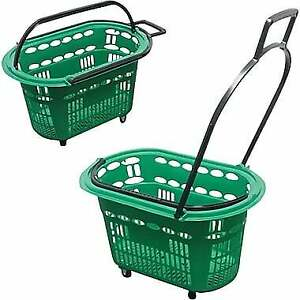 Rolling Plastic Hand Shopping Basket Green (New) - 1 available