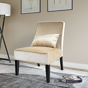Antonio Transitional Velvet Accent Chair with Pillow Soft Cream