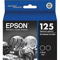 Printer Ink Epson 125 Black Package of 2 New! Paid $50.80