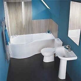Full Bathroom Curved Showerbath Complete Suite. Toilet, Basin, Taps and Waste.