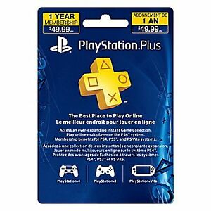 sony playstation plus 12 months membership card