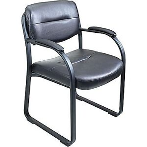 Set Of 4 Officestar Leather Guest Chairs