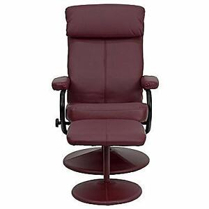 Flash Furniture Contemporary Leather Recliner and Ottoman With Pillowtop Headrest, Burgundy - Brand New