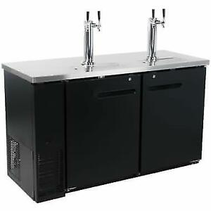 Black Kegerator / Beer Dispenser w(2) Double Tap Towers - (2) 1/