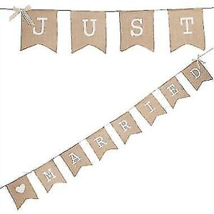 Just married banner- Burlap