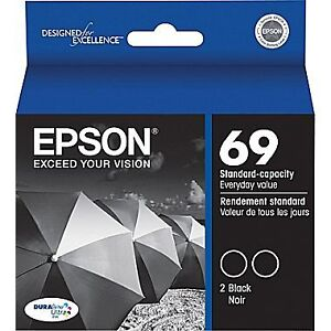 Epson® 69 (T069120-D2) Black Ink Cartridges, Twin Pack (New)