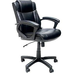 NEW in Box Staples Ergonomic simulated Leather Chair, Black save $$$ 135 $$$ no bad $$$ recently reduce to $65