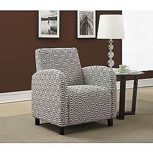 "Monarch ""Hexagon"" Pattern Fabric Accent Chair, Grey/Earthtone"