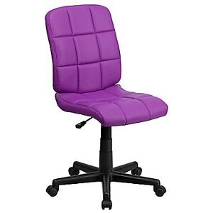 (NEW) Contemporary Mid-Back Armless Task Chair, Purple