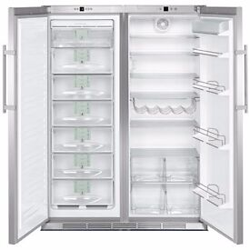 Liebherr stainless steel fridge and freezer with biofresh (side by side SBSES6302)
