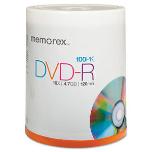 One pack of blank Memorex 16X DVD-R 100-Pack Spindle
