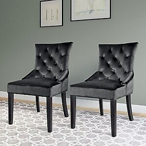 CorLiving Antonio Accent Chair, Dark Grey Velvet, Set of 2. New