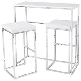Dwell Cubic Compact Breakfast Bar with Stools, White/Chrome