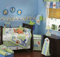 Lambs & Ivy Bubbles 6 Piece Crib Bedding Set and EXTRAS!!!